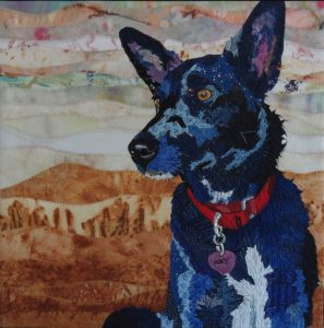 Roxy Sings the Blues / Fabric Collage, 2016 / 20″ x 20″/ NFS